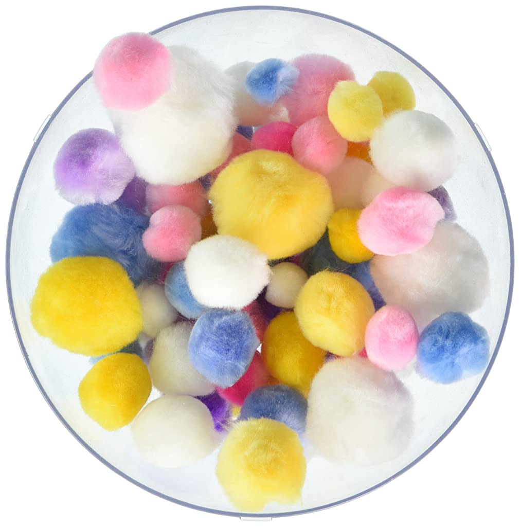 Pepperell POM-PMU  Assorted Pom Poms, Pastel Colors, 300 Per Package