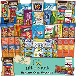 Healthy Snack Box Variety Pack (40 Count) Fathers Day Gift Basket for Dad - College Student Care Package, Natural Food Bar Nut Fruit, Nutritious Chips - Birthday Treat for Women, Men, Adults, Kids