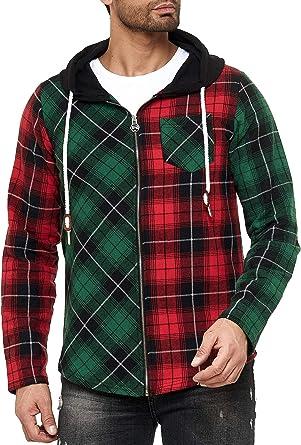 Red Bridge - Camisa Sudadera de leñador con Capucha a Cuadros de Colores para Hombres