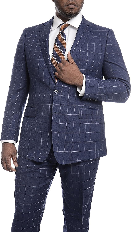 Steven Land Classic Fit Blue Windowpane Plaid Two Button Wool Suit