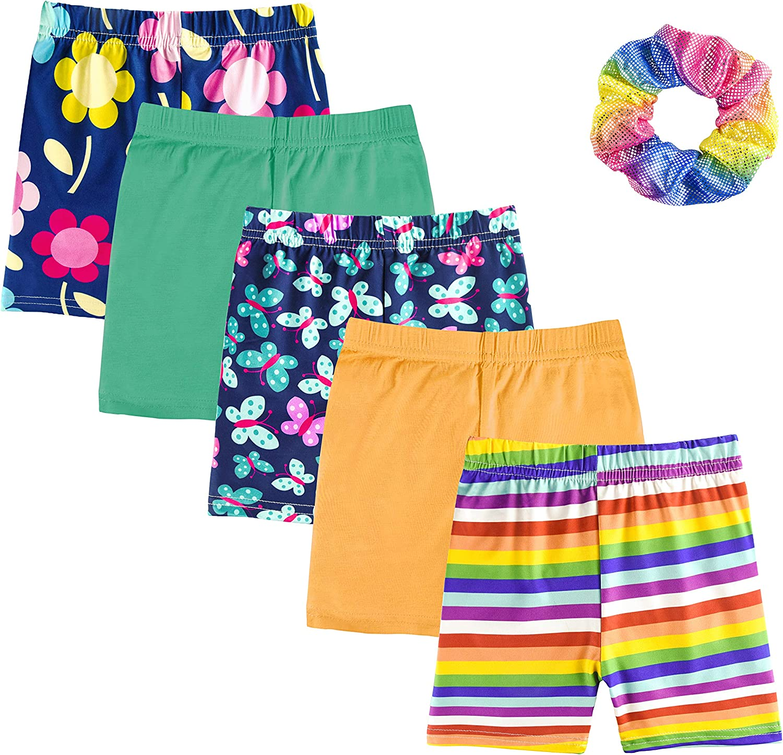 ZukoCert 5 Packs Girls Bike Short Athletic Shorts Colorful Yoga Short Pant Gym Workout Dance Running Shorts