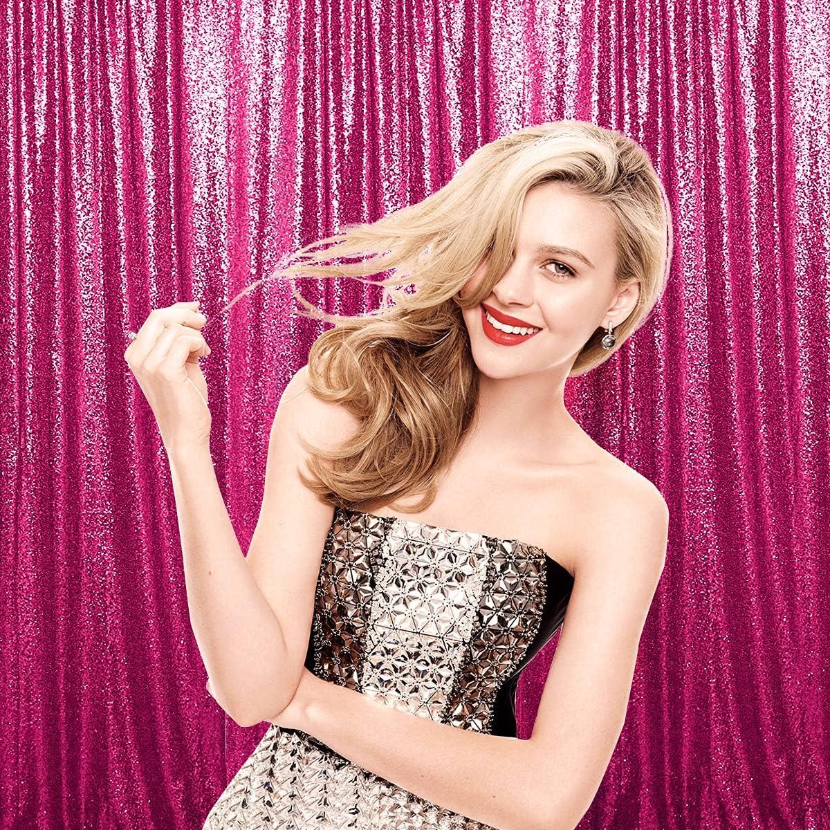 セール品 AIXHN Sequin お中元 Backdrop Curtain 10FTx10FT Pink Photogra Hot
