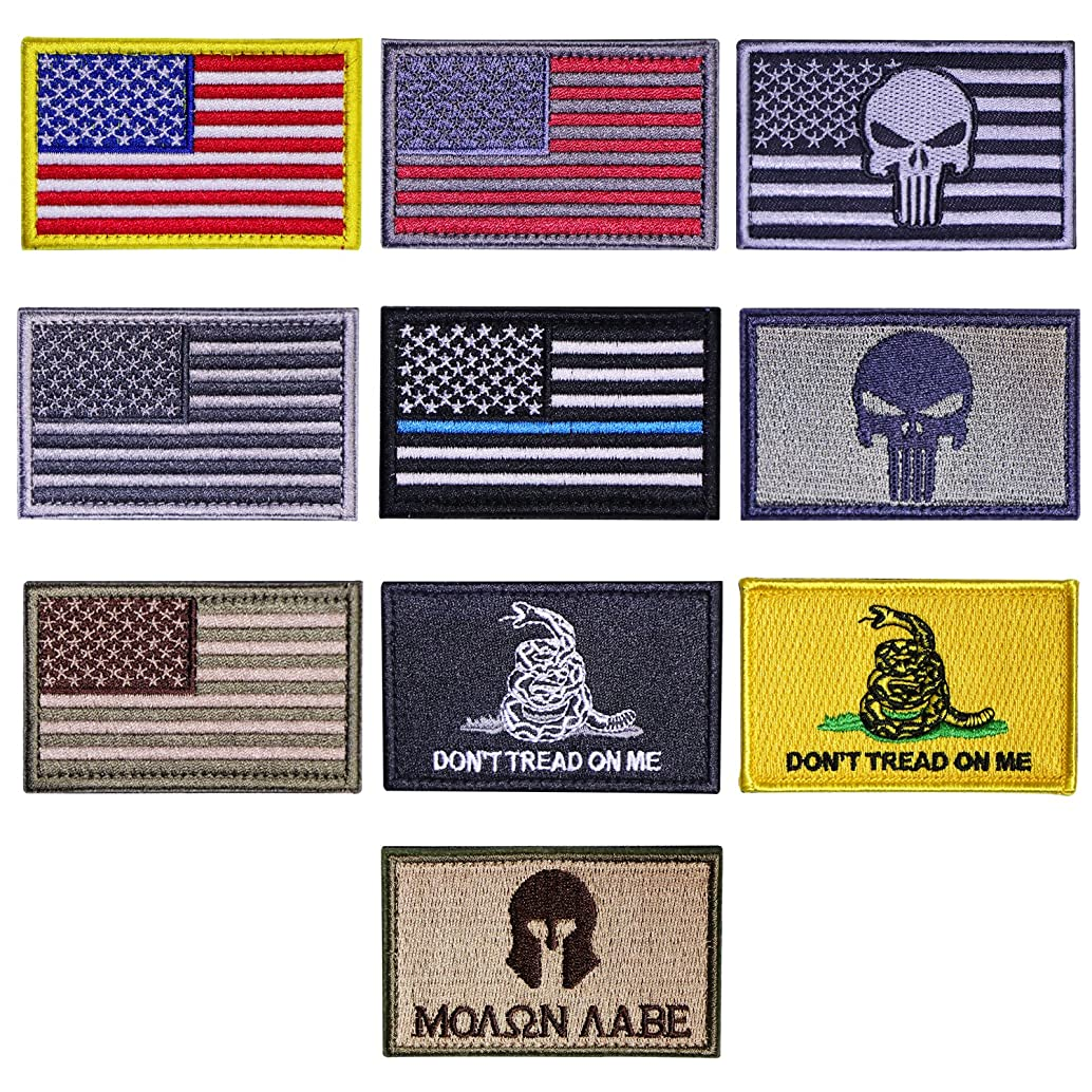 US Flag Tactical Patches,Danlince10 Pieces American Flag USA Flags Punisher Patches US Flag Patch Don't Tread On Me Molon Labe Patch Outdoor Activitity Military Morale Patch Set