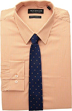 Mini Gingham Stretch Dress Shirt with Solid Herringbone Tie