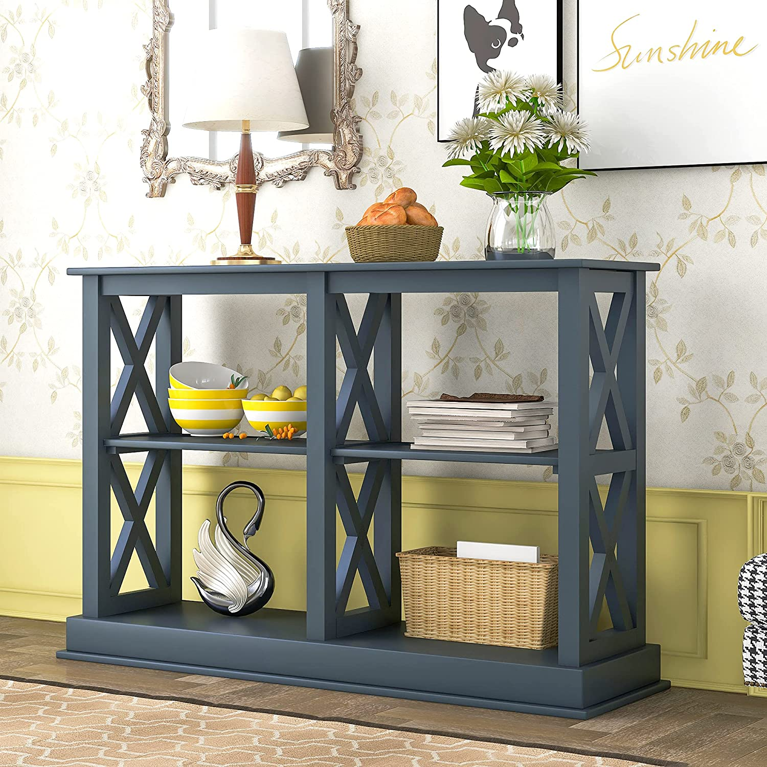 P PURLOVE Choice Console Table Sofa Portland Mall with Open Storage 3-Tier Spac