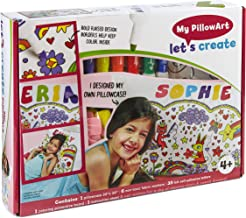 Let's Create 2-in-1 Art and Crafts kit and Functional Pillowcase Includes 6 Colorful Fabric Markers, 35 Self-Adhesive Letters and More! Personalized Pillow Cover (Standard)
