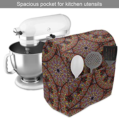 Ambesonne Bohemian Stand Mixer Cover, Colorful Round with Floral Details Traditional Peruvian Motifs, Kitchen Appliance Organ