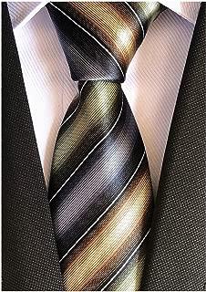 Elfeves Men's Modern Striped Patterned Silk Ties Wedding Party Banquet Neckties