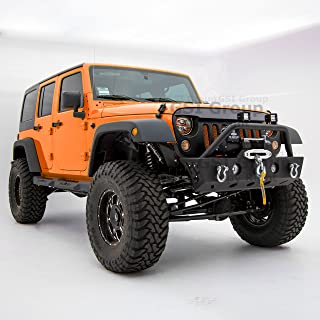 GSI Textured Black Rock Crawler Front Bumper with Winch Plate and OE Fog Lights Hole for 07-18 Jeep Wrangler JK