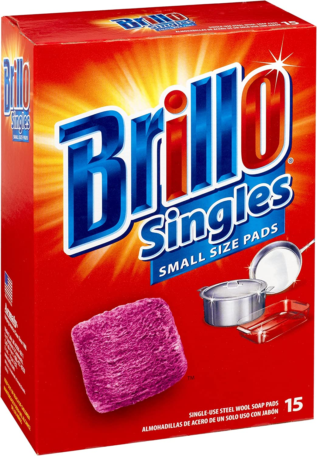 Brillo Steel Wool Soap Pads Scent Red 15-Co Memphis Mall Outlet ☆ Free Shipping Original Singles