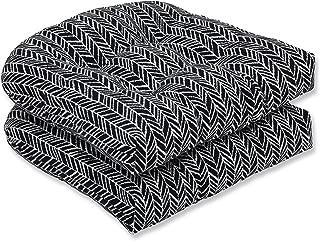 Pillow Perfect Outdoor | Indoor Herringbone Night Wicker Seat Cushion (Set of 2), 2 Piece