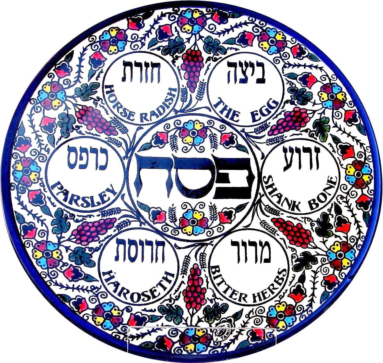 Round Armenian Ceramic Seder Plate Free Shipping New 27cm Colourful Grape Detroit Mall Design