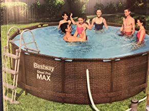 Bestway Power Steel Deluxe, Frame Pool rund mit stabilem Stahlrahmen im Komplett-Set, Rattan-Optik, 366x100 cm Piscina, marrón, Ø 366 x 100 cm