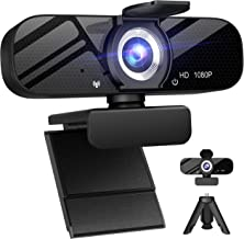 Full HD Webcam with Built-in Microphone and Rotatable Tripod, 1080P Video and Wide Angle Camera, Privacy Cover, for Deskto...