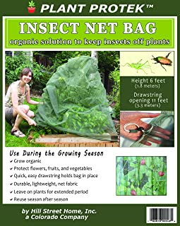 Insect Net Bag - 6 Feet Tall - Drawstring - Organic Protection for Flowers, Berries, Fruits, Vegetables, All Garden Crops