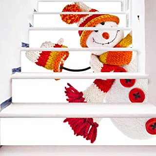 zhiyu&art decor Christmas 3D Stair Stickers Decals-6Pcs/Set Cute Snowman Stair Risers Stickers Decals Removable Staircase Decals Mural Wallpaper for Christmas Decoration
