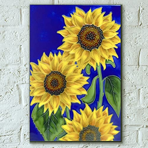 Three Sunflowers By Rafuse Decorative Ceramic Picture Tile 8x12 Home Decor Kitchen Wall Plaque Gift Floral