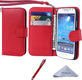 S4 Mini Case, Wisdompro Premium PU Leather 2-in-1 Protective Folio Flip Wallet Case with Credit Card Holder Slots and Wrist Lanyard for Samsung Galaxy S4 Mini (NOT S4 FIT) - Red