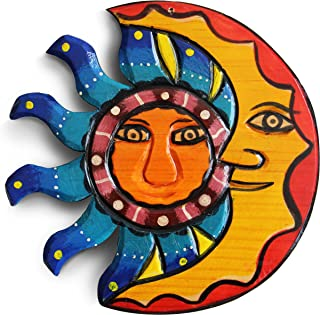 Sun and Moon Hanging Set. Mexican Home Decor, Outdoor Wall Decor and Wood Decor for Summer House, Beach Decor, 8.25in. Garden, Living Room, Fireplace, Outdoor Home Decoration, Handmade Art.