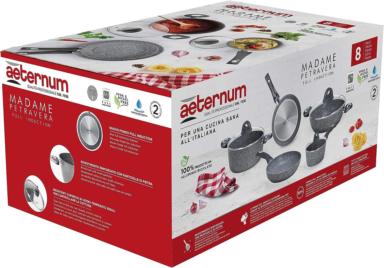 Aeternum Madame Petravera 3.0 - Batería de ollas y sartenes, aluminio, aptas para inducción, 8 piezas