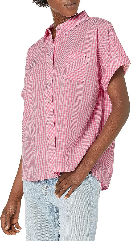 Tommy Hilfiger Women's Short Sleeve Camp Shirt, Printed Pindot