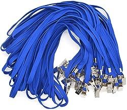 Bird Fiy 50pcs algodón cordón Clip de Bulldog 91,44cm soporte de trenzado cuello Cordón para tarjetas de identificación/insignias, color azul