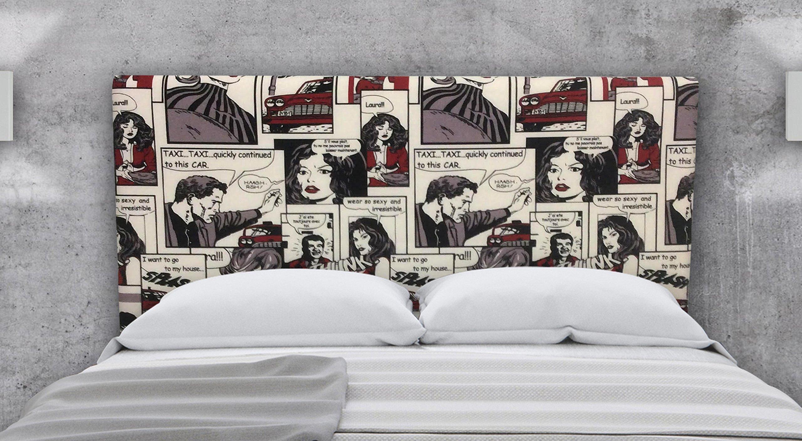 en Tela Motivo Estampado Bang SUENOSZZZ-ESPECIALISTAS DEL DESCANSO Cabecero tapizado para Camas de 80 90 x 57 cm