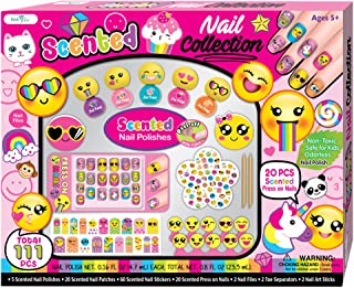 SMITCO Kids Nail Polish - Non-Toxic Peel Off Gift Set for Girls Ages 3 to 10 Years Old - Includes Everything for Toddler or Children Spa Manicure and Pedicure - Nail Art Decals, Press On Nails, Stick