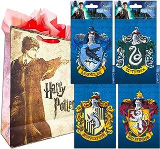 Harry Potter Decal Sticker Super Set ~ Bundle of 4 Premium Harry Potter Stickers for Room Decor, Car, Laptop (All 4 Hogwarts Houses with Bonus Party Bag)