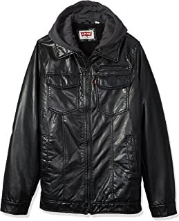 f58773ef547 Levi s Men s Tall B t Vintage Deer Faux Leather Sherpa Lined Trucker with  Hood