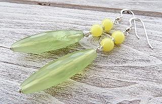 Orecchini con giada verde e gialla, pendenti in argento 925 italiano, orecchini a goccia, bijoux pietre dure, gioielli cre...