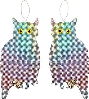 Tapix Owl Bird Repellent Reflective Holographic Bird Deterrent Hanging Device Effectively Keep Birds Away 2 Pack Owl to Scare Away Birds 15.3 x 8.2 inch, Best Bird Scare Device