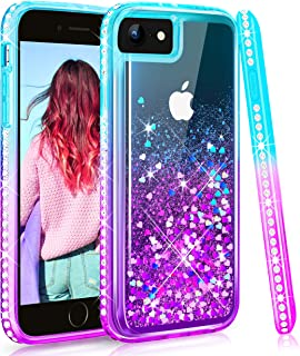 Maxdara Case for iPhone 6 6S 7 8 Case Glitter Girls Women Liquid Bling Sparkle Pretty Fashion Case Rhinestone Diamond with Screen Protector Case for iPhone 6 6S 7 8 4.7 inches (Teal Purple)
