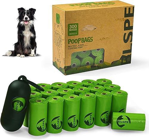 BLSPE Dog Poop Bags Pet Dog Supplies 300 Bag 20 Rolls With Dispenser and Waste Dog Poop Bag Leash Clip for Doggie Cat...
