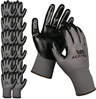 ACKTRA Nitrile Coated Nylon Safety WORK GLOVES 12 Pairs, Knit Wrist Cuff, Multipurpose, for Men & Women, WG003 Grey Polyester, Black Nitrile, X-Large