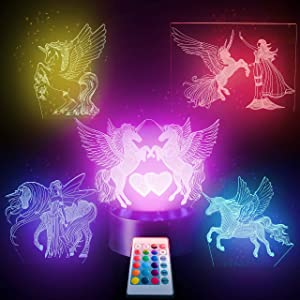 5in1 Unicorn Night light- 3D NightLight - For Girls Room, Kids. 5 Patterns 16 Color Changing Bedside lamp with Remote For Teens of all Ages. Best Unicorn Led Optical Illusion Lamp for Room Décor.