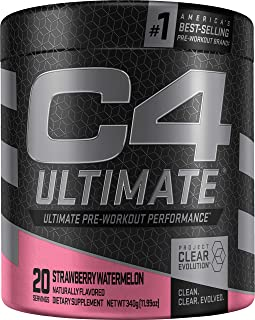 C4 Ultimate Pre Workout Powder Strawberry Watermelon | Sugar Free Preworkout Energy Supplement for Men & Women | 300mg Caf...