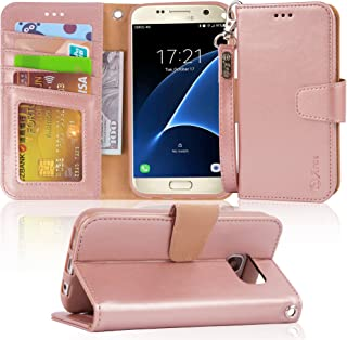Arae Case Compatible for Samsung Galaxy s7, [Wrist Strap] Flip Folio [Kickstand