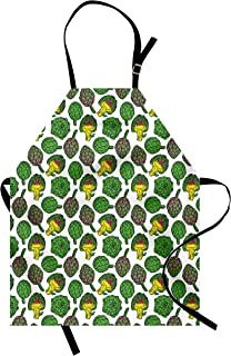Ambesonne Artichoke Apron, Vivid Colored Artichokes Cooking Food Eating Groceries Vegan Options, Unisex Kitchen Bib with A...