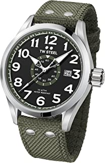 TW Steel Men's Volante Stainless Steel Japanese-Quartz Watch with Nylon Strap, Green, 24 (Model: VS22)