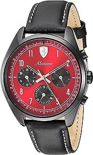 Ferrari Men's 'Abetone' Quartz Stainless Steel and Leather Watch, Color:Black (Model: 0830571)