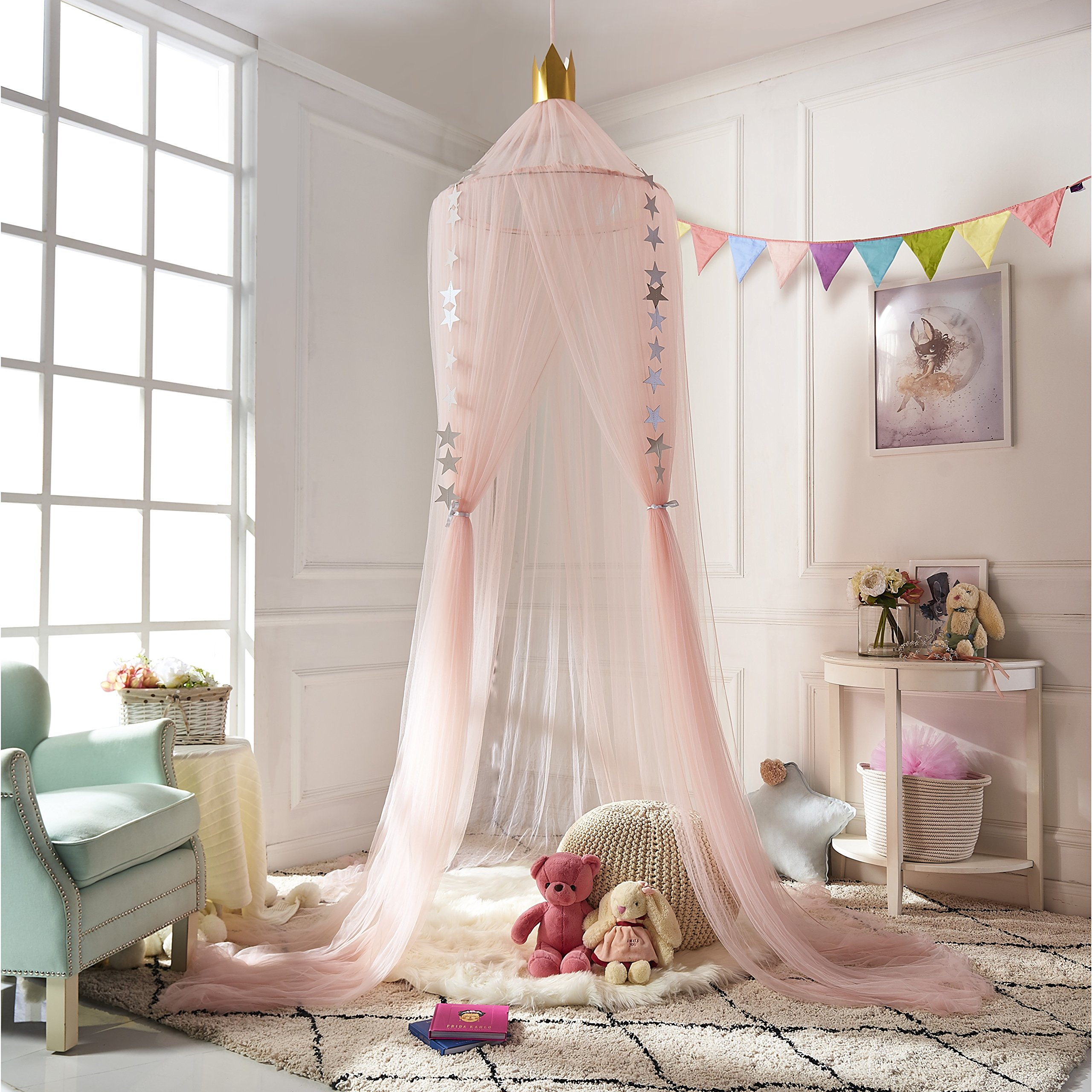 Lace Princess Style Mosquito Net Canopy Netting Curtain Dome Dual Color Round Canopy Mosquito Net Bed Curtain Netting Ladieshow Mosquito Pink Purple Decorated for Children Bed