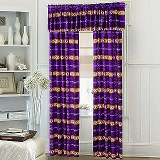 Western Essence Southwest Native American Design 5 Piece Curtain Set Navajo Multicolor Purple 5 Piece 16112 Purple Curtain Set