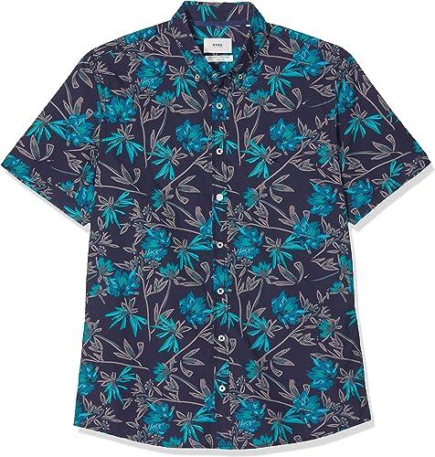 Brax Dan The Perfect Print Shirt Halbarm Gemustert Chemise Décontracté Homme