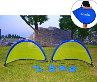 Poray Soccer Goal for Kid Easy-up Set of Two 2 Portable 4FT Goal,Pop-up Soccer Nets with 210D Oxford Carry Bag and 8 Field Marker Cones Extra Plastic Pegs. Fun for Parks or Backyard Training