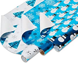 American Greetings Foil Christmas Bulk Gift Wrapping Paper Bundle with Gridlines, 3 Rolls; Snowmen, Snowflakes, and Trees, 90 Total sq. ft.