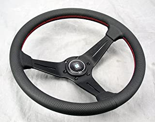 NARDI Deep Corn Steering Wheel - 350mm (13.78 inches) - Black Perforated Leather with Red Stitching - Black Spokes - Type A Horn Button - Part # 6069.35.2093A