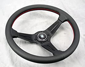 NARDI Deep Corn Steering Wheel - 350mm (13.78 inches) - Black Perforated Leather with Red Stitching - Black Spokes - Type ...