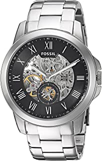 ساعة يد اوتوماتيكية من فوسيل جرانت للرجال، مينا اسود، سِوار ستانلس ستيل - ME3055