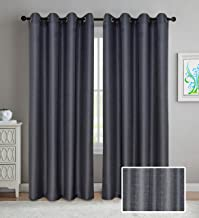 LINENWALAS Non Blackout Elegant Korona Design Solid Sheer Curtain with Eyelet Ring Polyester Blend 4.5 x7 ft Door Curtain (Charcoal Grey) -Set of 2